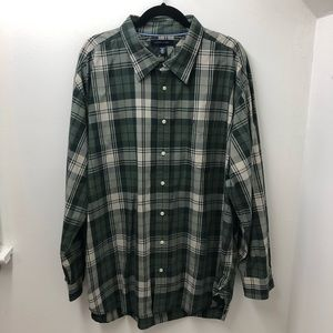 Tommy Hilfiger Green Plaid Button Front XXL